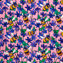 Digital print: Police Bee organic jersey knit, rose