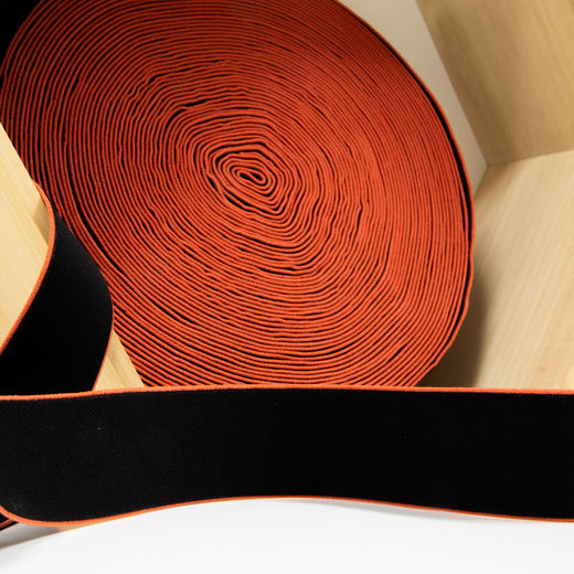 40mm elastic for boxers: black-burned orange