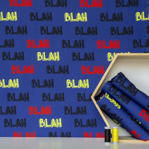 Digital print: Blah blah, dark blue