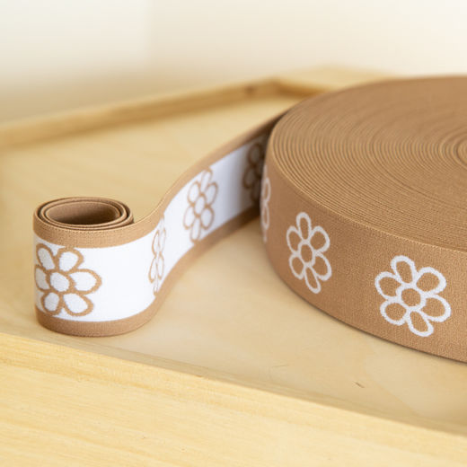 Flower 40mm elastic for boxers: latte