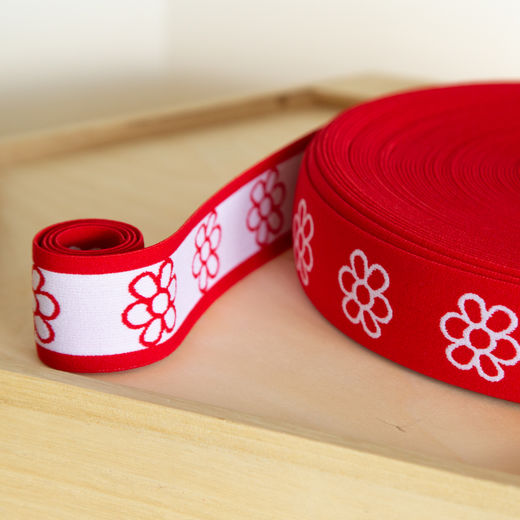 Flower 40mm elastic for boxers: red