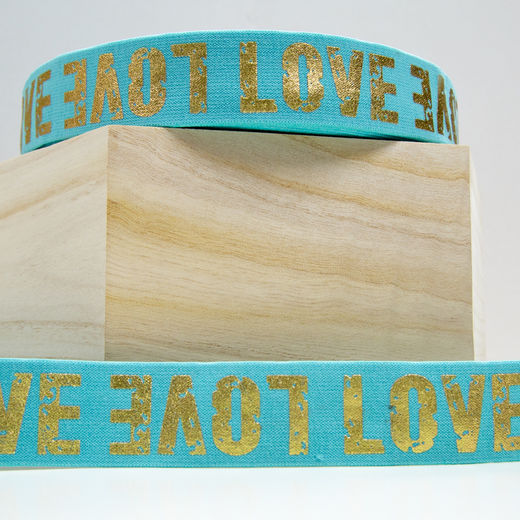 40mm elastic for boxers: Love, mint-gold