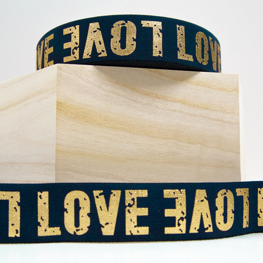 40mm elastic for boxers: Love, marine-gold