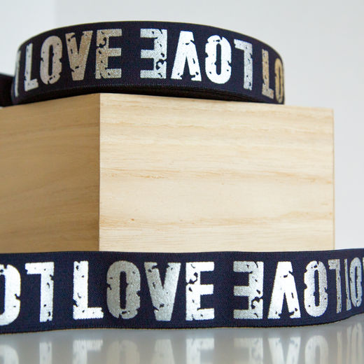 40mm elastic for boxers: Love, marine-silver