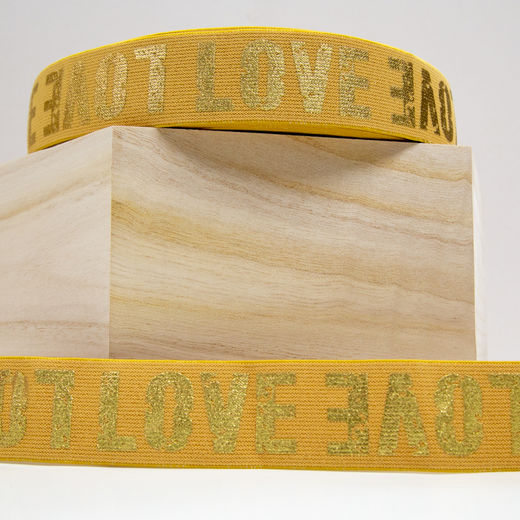 40mm elastic for boxers: Love, toffee-gold