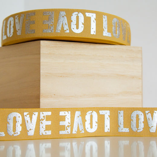 40mm elastic for boxers: Love, toffee-silver