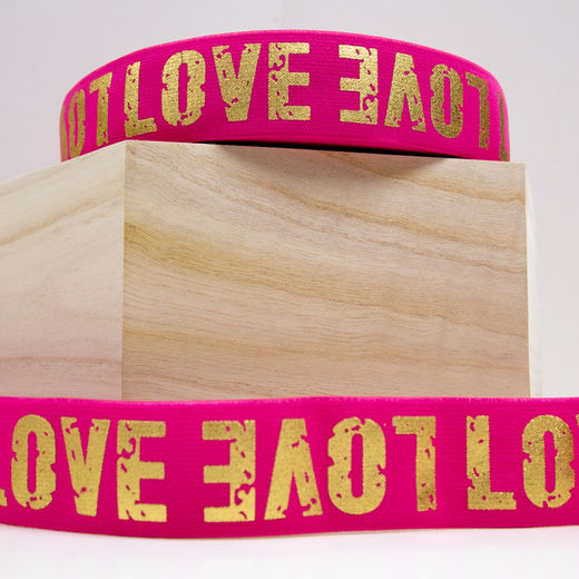 40mm elastic for boxers: Love, hot pink-gold