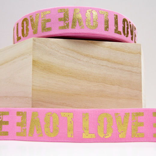 40mm elastic for boxers: Love, rose-gold