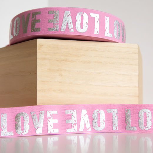40mm elastic for boxers: Love, rose-silver