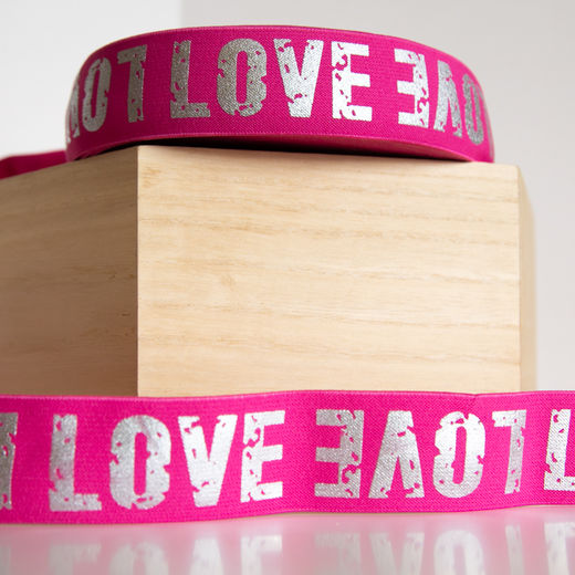 40mm elastic for boxers: Love, hot pink-silver
