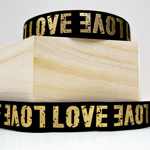 40mm elastic for boxers: Love, black-gold