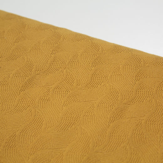 Leaf cotton jacquard knit, dry mustard