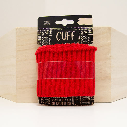 Red cuff, ribbed