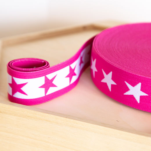Star 40mm elastic for boxers: hot pink