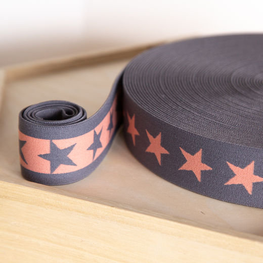 Star 40mm elastic for boxers: dark grey-peach