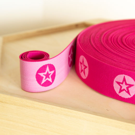 RoundStar 40mm elastic for boxers: hot pink-rose