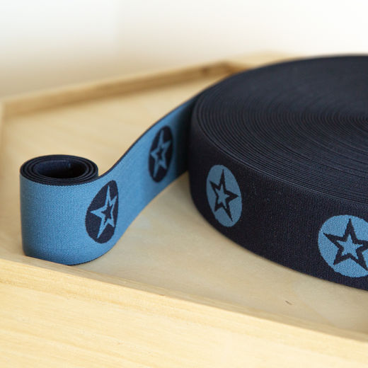 RoundStar 40mm elastic for boxers: dark blue-light jeans